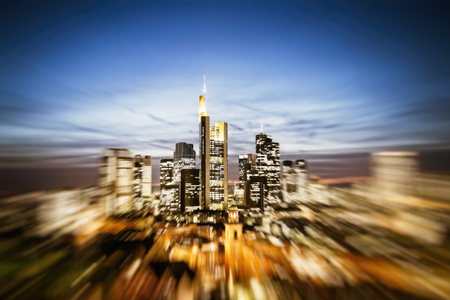 The skyline of Frankfurt am Main in Germany with zoom effect alienated Stock Photo