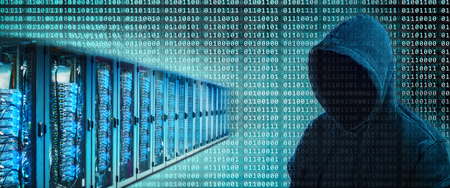 A number of servers with binary digits and the silhouette of a hacker