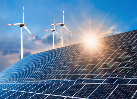Photovoltaic system and wind turbine with bright sun Banque d'images - 106196499