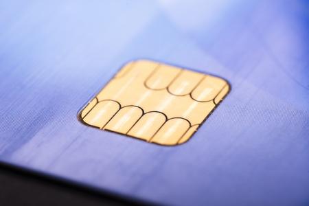 Golden smart card module of a smartcard Banque d'images - 106196501