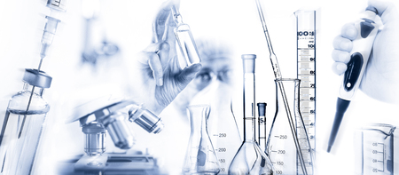 Researcher with active ingredient a microscope, pipette and other laboratory equipment Banque d'images - 109544491