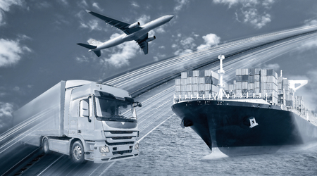Transport of goods by truck, ship and plane Banque d'images - 110031556