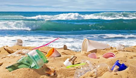 Plastic waste pollutes a wonderful sandy beach