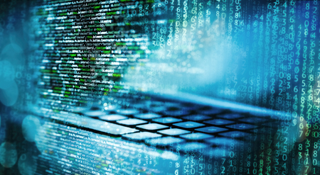 Programming code with matrix, computer and abstract technical background in blue Stok Fotoğraf