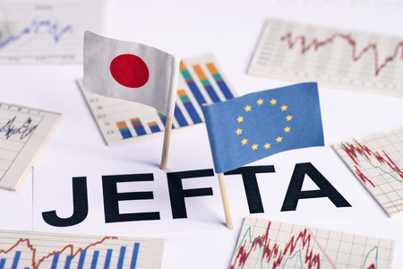 Symbolic picture for the EU-Japan Free Trade Agreement, JEFTA Stock Photo
