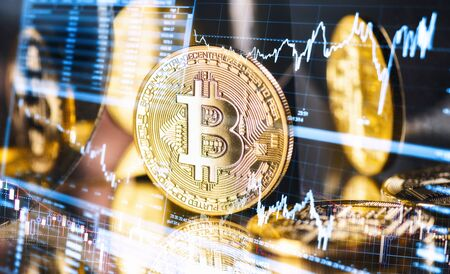 Bitcoin the highest capped cryptocurrency with symbols of fluctuating exchange rates