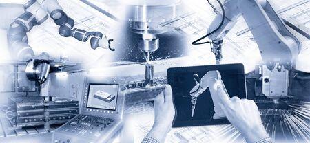 Moderne Industrie mit Robotern, Computern und CNC-Maschinen