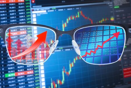 Glasses shows rising courses with financial data in the background