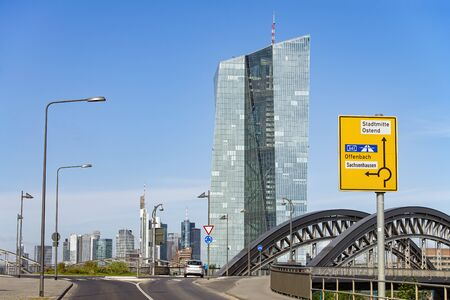 View from Osthafen to the European Central Bank (ECB) with the Honsellbr�cke and the skyline of Frankfurt in the background