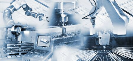 Modern industry with robots, computers and CNC machines Stock Photo