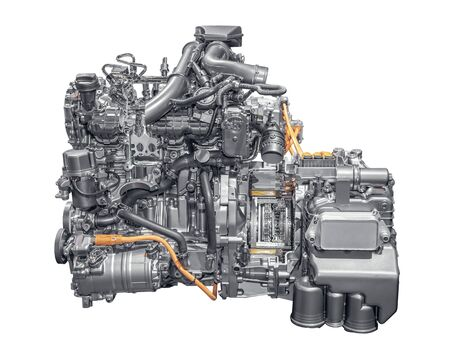 Modern 4 cylinder plug-in hybrid gasoline engine Stock Photo