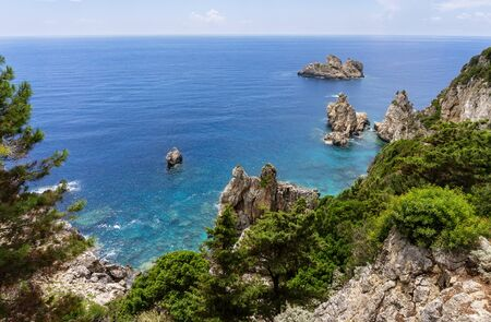 View from Paleokastritsa Monastery on the Greek island of Corfu on a picturesque bay