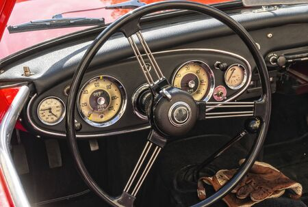 View of the dashboard of a historic english car