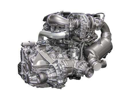 Potente motor de gasolina de 4 cilindros de un automóvil moderno Foto de archivo