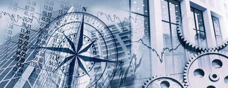 Brújula, engranajes, diagramas y fachadas de edificios de oficinas como símbolo de los mercados comerciales y financieros