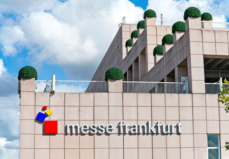 The logo of Messe Frankfurt on a building at the exhibition center Editorial