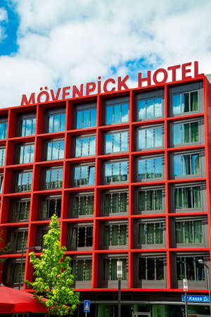 Facade of the M?venpick Hotel in Frankfurt am Main. Frankfurt, Hesse / Germany - July 13 2019 Editorial