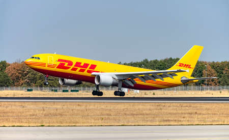 DHL aircraft (Airbus A300-600 - D-AEAK) on the northwest runway of Frankfurt Airport. Frankfurt, Hesse / Germany - 29.08.2019