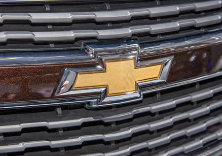 The logo of Chevrolet on a car of this brand Editorial