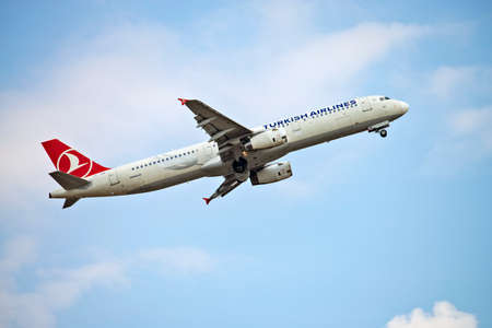 Turkish Airlines aircraft (Airbus A321 - TC-JSB) taking off from Frankfurt Airport. Frankfurt, Hesse / Germany - 07/23/2019