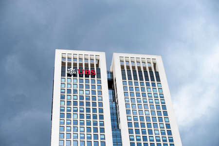 The twin towers of the Opernturm with logo of the Swiss bank UBS in Frankfurt Editorial
