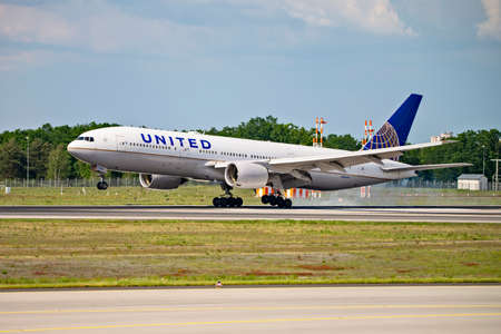 United aircraft (Boeing 777-200 - N786UA) on the northwest runway of Frankfurt Airport. Frankfurt, Hesse / Germany - May 19, 2019 Editorial
