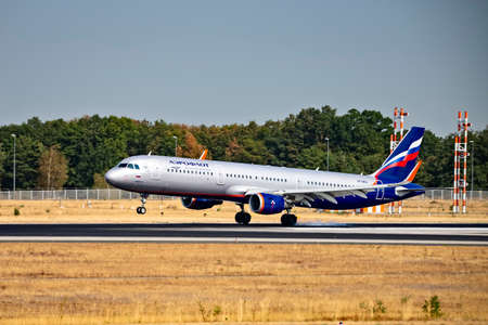 Aeroflot aircraft (Airbus A321 - VP-BEA) on the northwest runway of Frankfurt Airport, Frankfurt, Hesse / Germany - August 29 2019 Frankfurt, Hesse / Germany Editorial