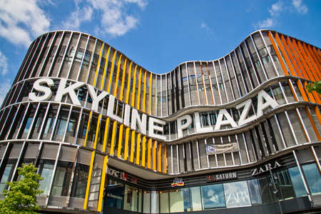 Facade of shopping mall Skyline Plaza in Frankfurt. Frankfurt, Hesse / Germany - July 13 2019