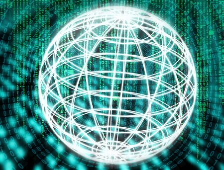 Globe with matrix and abstract technical background Standard-Bild