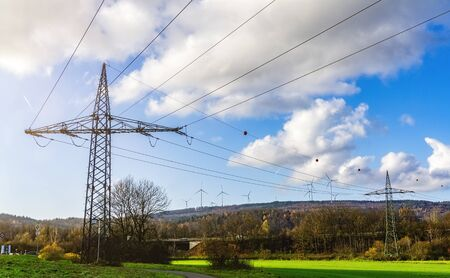 Power pylons and windmills in Spessart