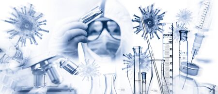 Researchers with viruses, pipette and glass flask and many other laboratory utensils