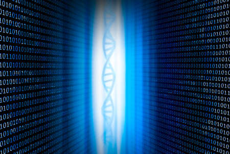 DNA and binary numbers against a blue background Banque d'images
