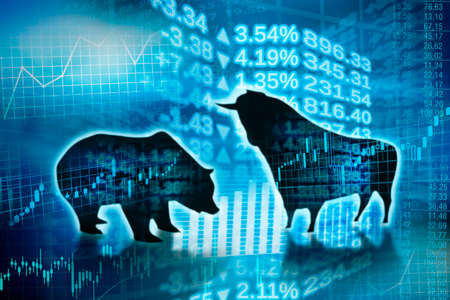 Silhouette of bull and bear and symbols of digital trade on the markets