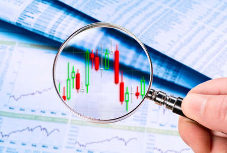 Magnifying glass shows a stock price as a candlestick chart. Price tables and charts are displayed in the background.