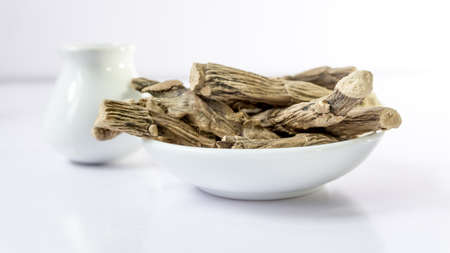 Ayurveda and Alternative Medicine - Mytle Grass. Medical Dry Herbs and Roots Wadakaha,vasambu,vekhand Calamus root or Sweet Flag. Flagroot (Acorus calamus). Stock Photo
