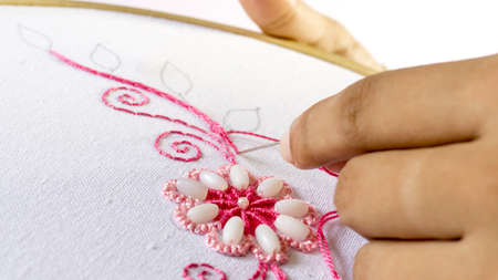 Embroidery by hand Women Stitching Flower design