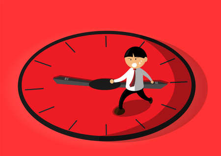 A man who is hurry, run away from sword clock arm, vector