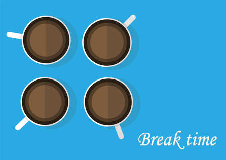 break time with coffee vector , cup of coffees on blue background Ilustração