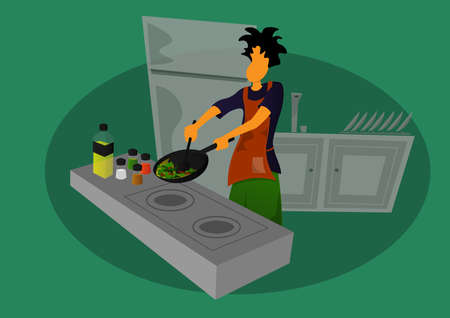 a guy stir fry the vegetables in the kitchen 矢量图像