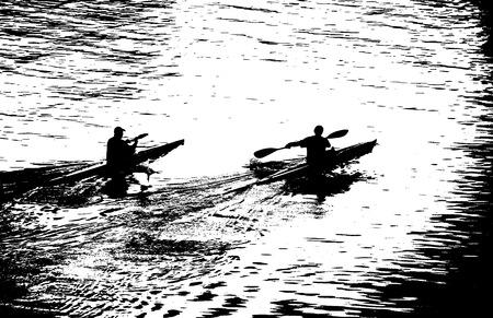 black white kayak: Evening training of oarsmen on kayaks.