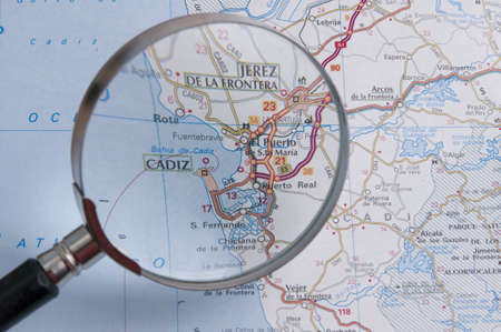 Cadiz old map, under lupe. photo