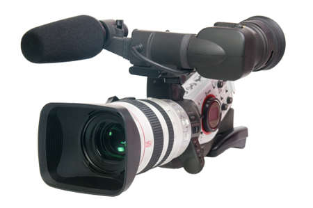 movie production: Professional video camera isolated on white.