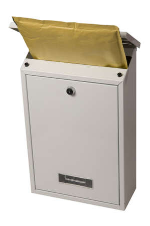 you've got mail: Letter in the mailbox isolated on white with clipping path.