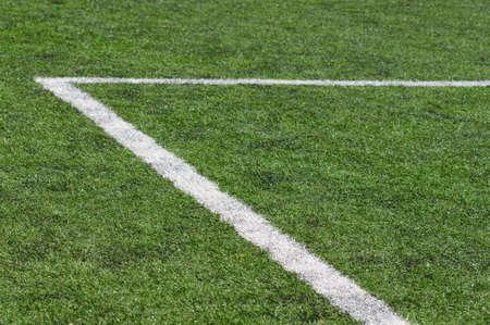 Football field line on artificial grass  photo