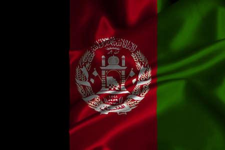 afghan flag: Afghanistan flag on satin texture.