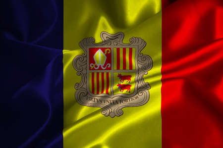 Andorra flag on satin texture. photo