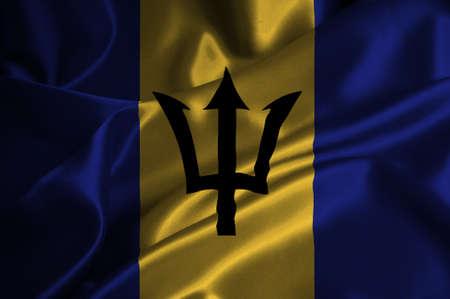 barbadian: Barbados flag on satin texture.
