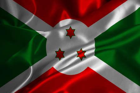 burundi: Burundi flag on satin texture.