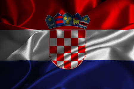Croatia flag on satin texture. 版權商用圖片