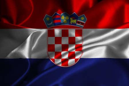 republika: Croatia flag on satin texture. Stock Photo